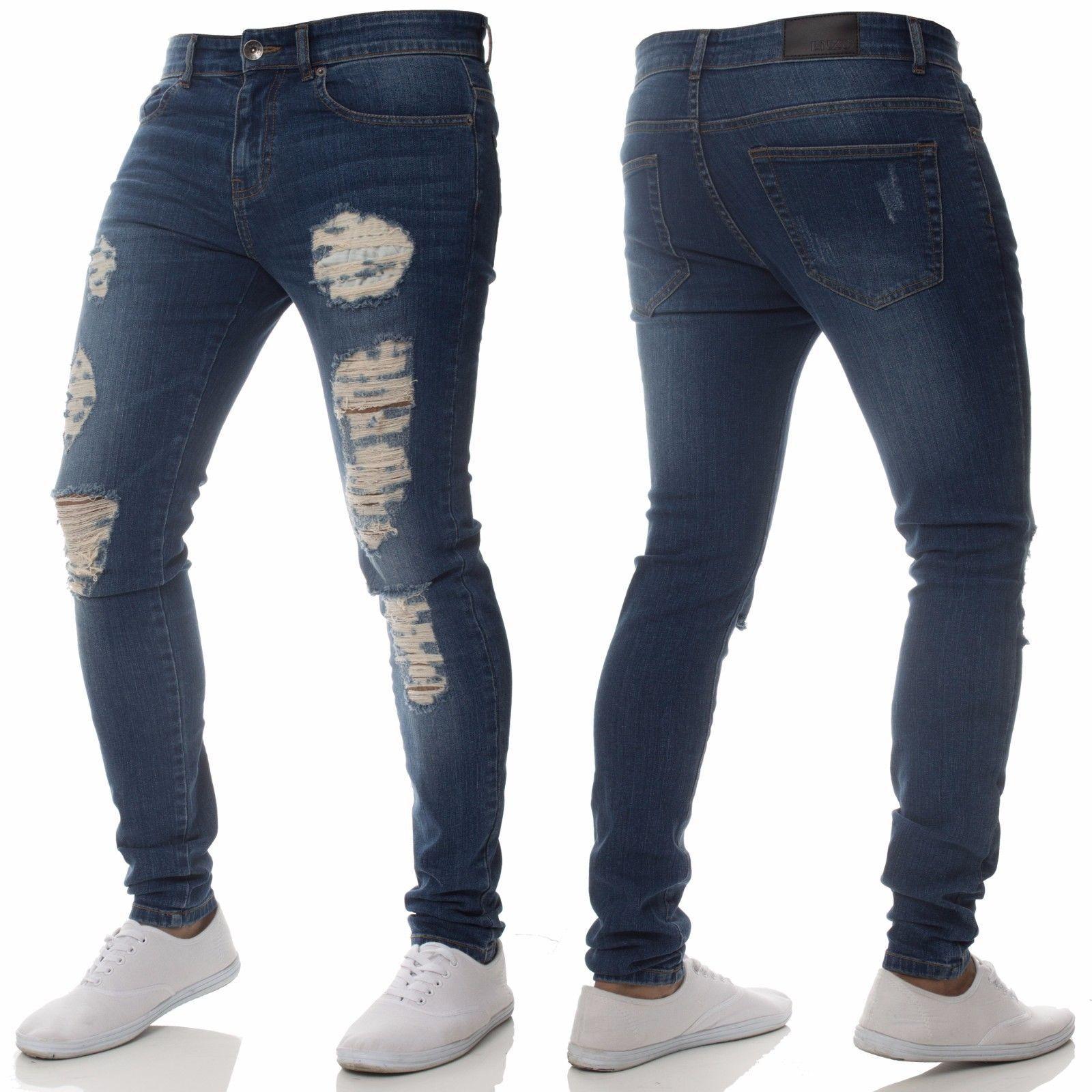 Hole Street Denim Jean Fashion Skinny High Waist Men Side Stripe 80s Pant Slim Pencil Brade Stripe Ripped Elastic Jeans Big Size