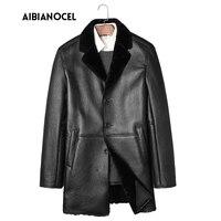AIBIANOCEL Winter Sheep Fur Coat Men Shearling Coat Men S Leather Jacket Wool Liner Middle Long