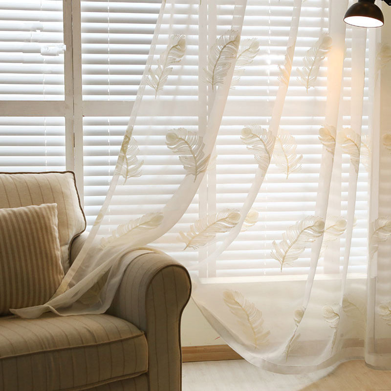 White Feather Embroidered Flower Curtain Screen Finished