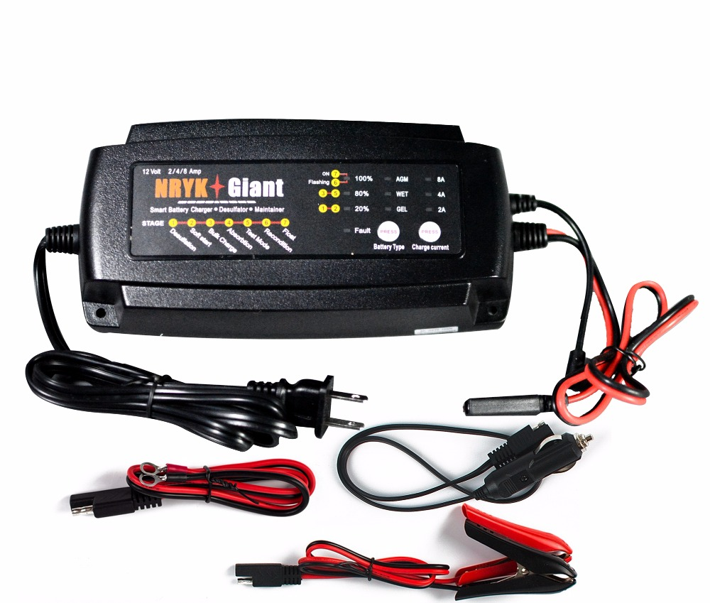 Aliexpress com buy warranty 2 years 12v 2a 4a 8a smart car battery charger maintainer desulfator for agm gel wet batteries 6 160ah from reliable battery