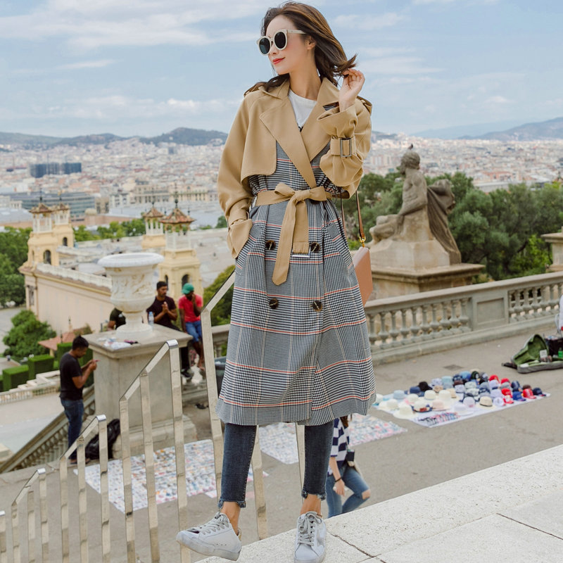 Autumn Coat Female 2018 New Color Hepburn Coat Plaid Long Windbreaker Female Atmosphere   Trench   Adjustable Waist Epaulet