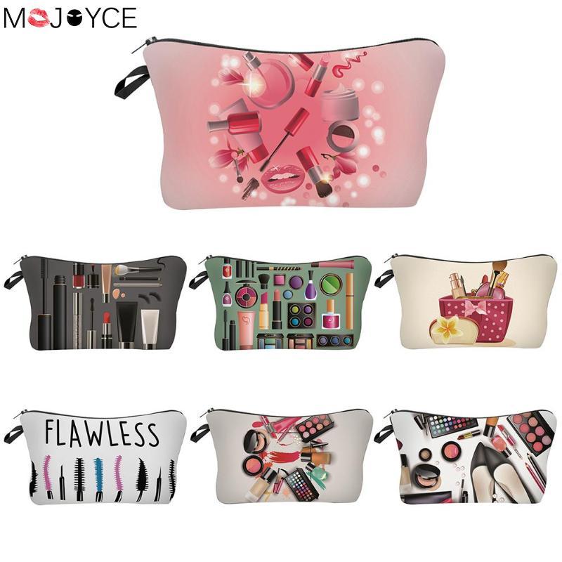 Makeup Pattern Floral Printed Cosmetic Bag Portable Polyester Women Handbag