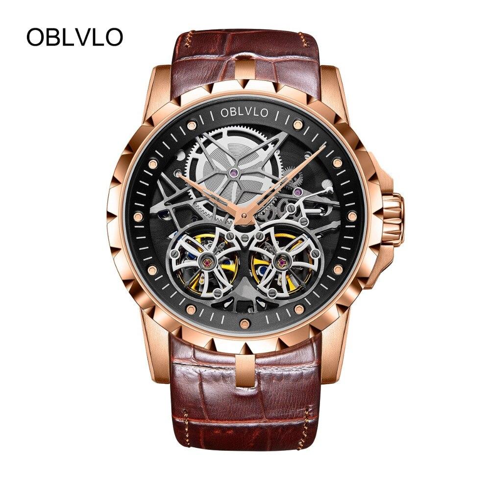 2018 OBLVLO Mens Orologi Militari Automatici Orologi Impermeabile In Oro Rosa Scheletro Cinturino In Pelle Marrone Orologio Montre Homme OBL3606