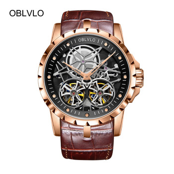 2019 OBLVLO Mens Military Watches Automatic Watches Waterproof Rose Gold Skeleton Watch Brown Leather Strap Montre Homme OBL3606