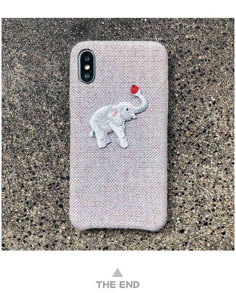 Cute Embroidered Elephant Phone Case For iPhone - Photo 8