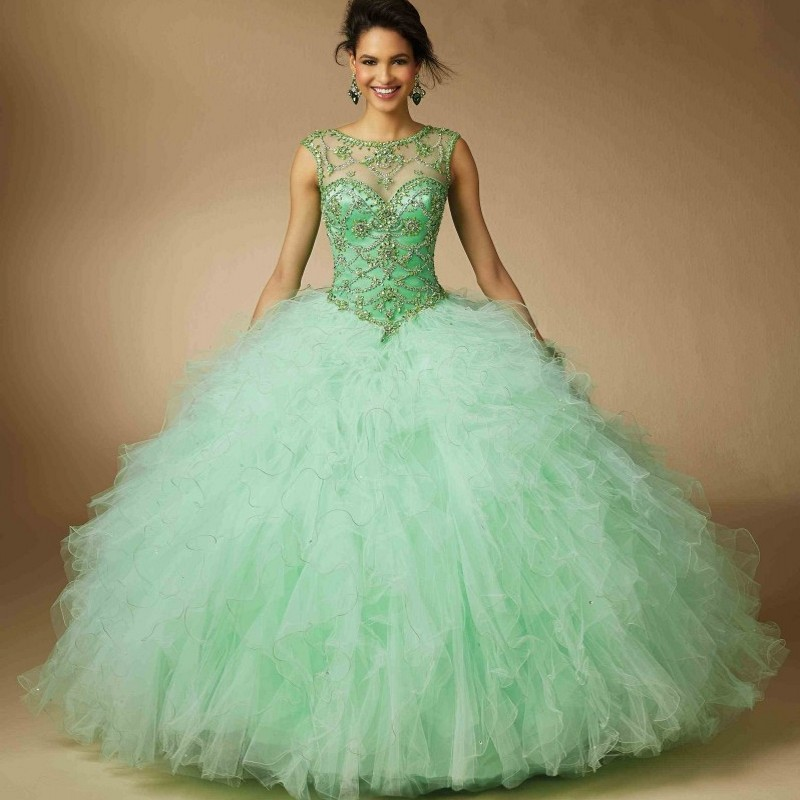0d3259756e US $188.0 |Mint Green Beading Illusion Neck Quinceanera Dresses 2017 for 15  Birthday Party Newest Cap Sleeves Lace Up Debutante Ball Gown-in ...