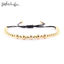WML New Arrival 4mm 6mm gold color Copper Beads Braided Macrame Men Bracelets & Bangles For Women Jewelry