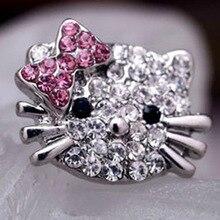 Красивые, с серебряным покрытием, маленькие милые кольца для девочек hello kitty, очаровательный со стразами, турецкие Brincos, Детские кольца, ювелирные изделия