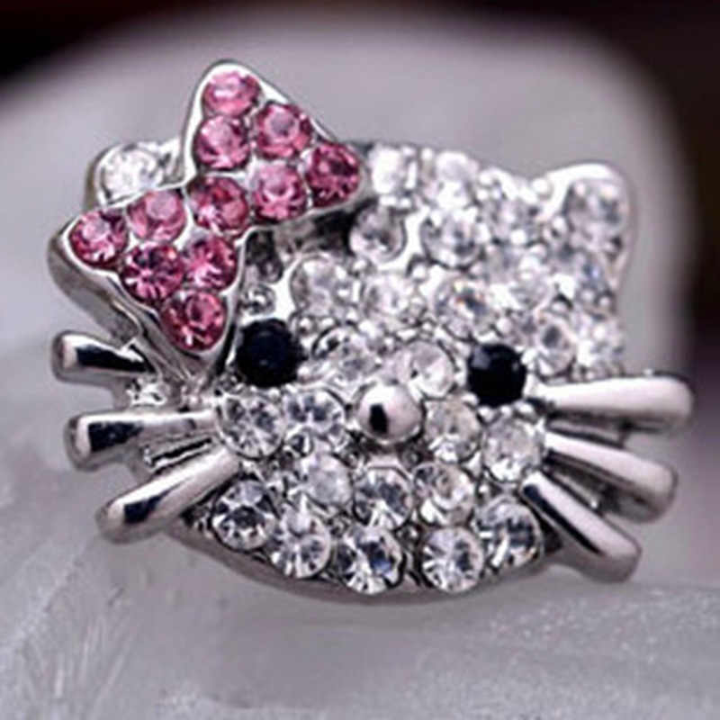 Encantador de Prata Banhado Pequeno Bonito Olá Kitty Aberturas Anéis para Meninas Charme Cristal Turcos Brincos Jóias Anel de Crianças