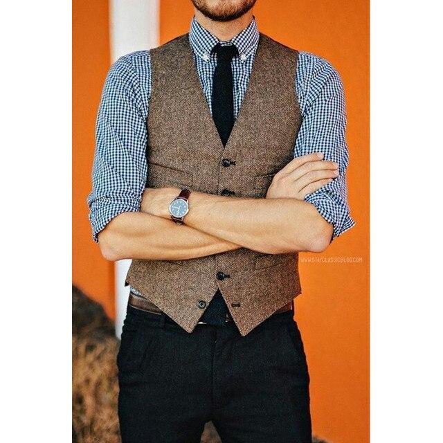 brown wool tweed vests slim mens suit vests custom made
