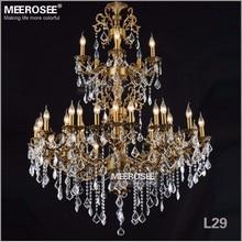 Luxurious Large Brass Color Crystal Chandelier Lighting Lustre lamparas de techo Fixture 3 tiers 29 Arms Hotel Lamp