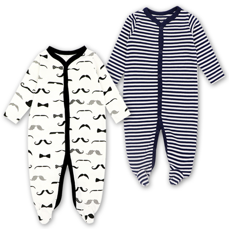 Image 3 - Newborn Baby Boys Girls Sleepers Pajamas Babies Jumpsuits 2 PCS/lot Infant Long Sleeve 0 3 6 9 12 Months Clothes-in Blanket Sleepers from Mother & Kids