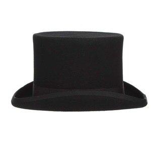 Image 4 - Gemvie 13.5cm 100% lã de feltro chapéu superior para homens fedoras para mulher chapeleiro louco cilindro traje chapéu cavalheiro derby chapéu mágico