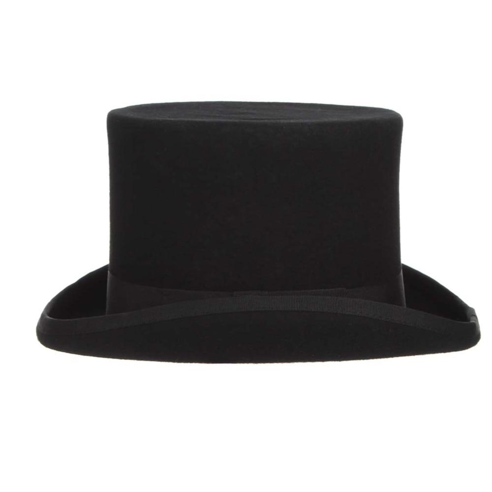 Negro Steampunk sombrero lana sombreros para mujer loco sombrerero sombrero  caballero británico hombres sombreros magia mago tapas en Sombreros de  fieltro ... 9c95e0bfd73