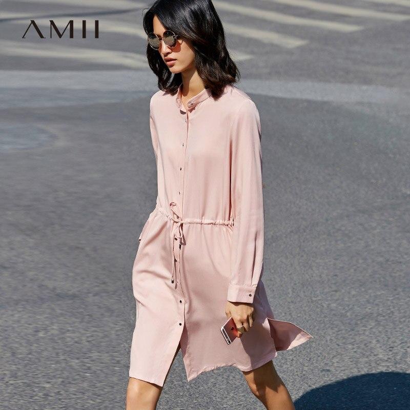 Amii Minimalist 2018 Loose Collar Waist Drawstring Button Long Sleeve Dress