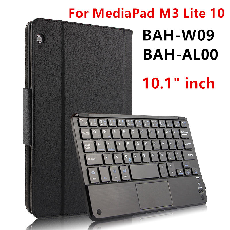 Case For Huawei MediaPad M3 Lite 10 Protective Cover Bluetooth keyboard Protector PU Leather bah-w09 bah-al00 10.1 Tablet Cases crystal protective case for nds lite