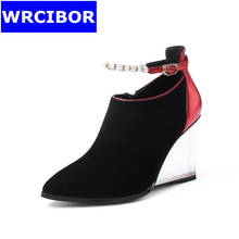 Women Pumps Nubuck Leather Pointed toe High heels Casual shoes Lady Fashion String Bead wedges high-heeled shoes Single shoes