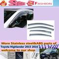 Para T0Y0TA Highlander 2015 2016 + car styling corpo detector lâmpada Vara de plástico vidro Da Janela Pala para a Chuva de Vento/Sol Ventilação guarda 4 pcs