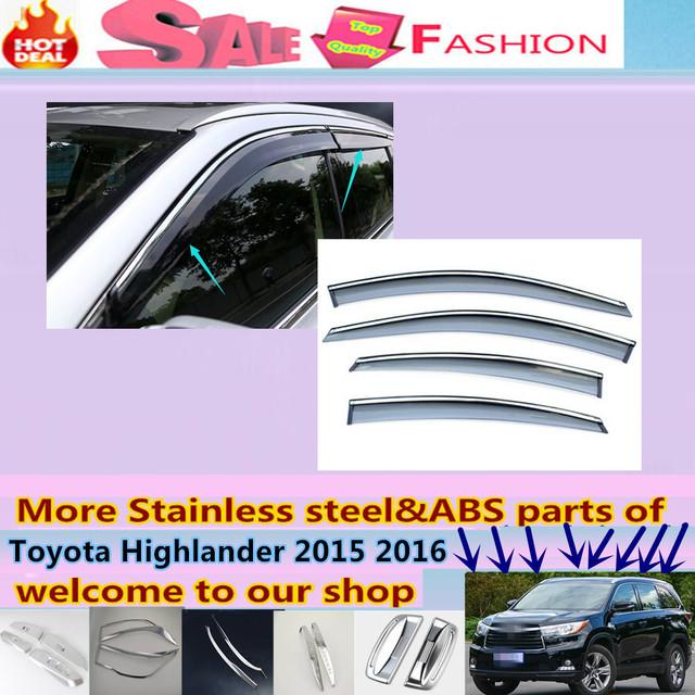 Para T0Y0TA Highlander 2015 2016 + diseño de la carrocería del coche detector Stick lámpara de plástico cristal de la Ventana de Viento Del Visera Lluvia/Sol guardia Vent 4 unids