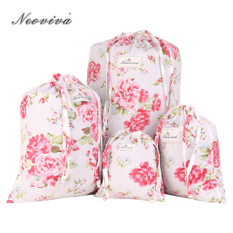 Neoviva Cotton Laundry Bag With Drawstring Closure, Pack Of 4 In Different Sizes, Floral Lollipop Red Storage Travel Pouch Bags