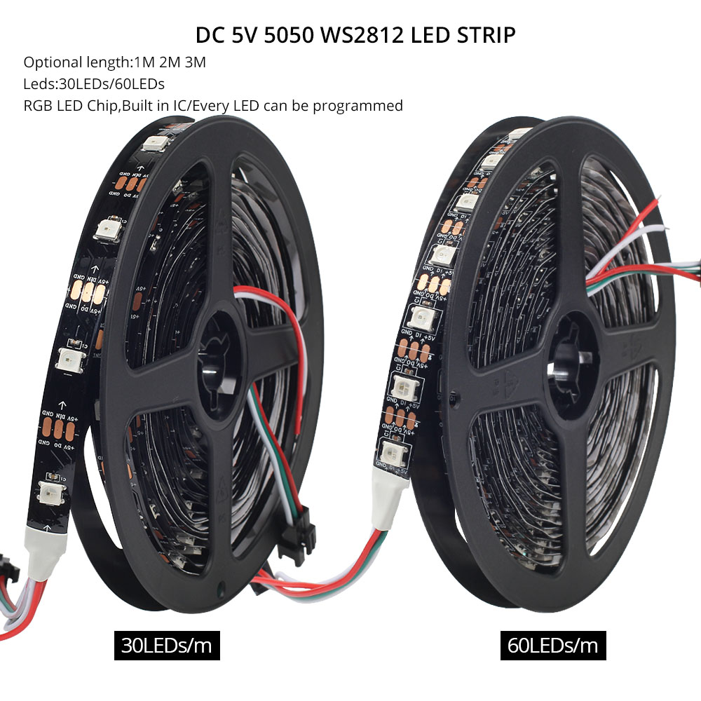 Image 2 - DC 5V WS2812B Bluetooth USB LED Strip 5050 APP Controller RGB individually addressable Led Strip Light WS2812 pixel strips Set-in LED Strips from Lights & Lighting