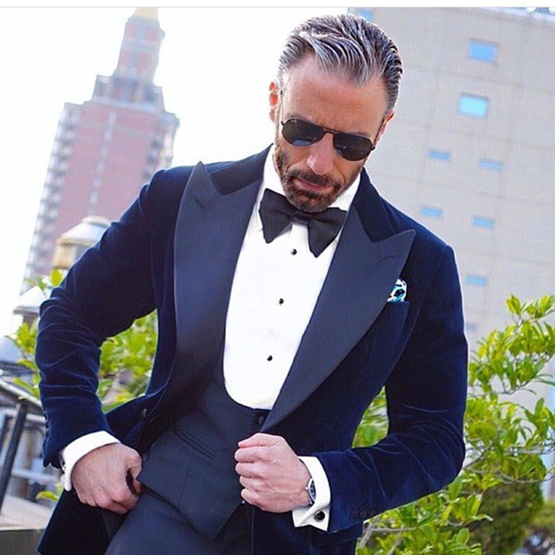2017 new latest coat pant designs Royal Blue Velvet Groom men suit tuxedos Jacket costum ...