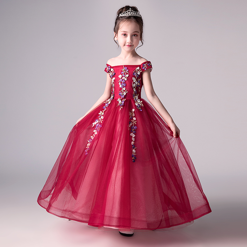 Royal Flower Girl Dress Shoulderless Princess Dresses Floral Ball Gown Embroidery Girl's Dress Summer Kids Pageant Gown AA30 floral embroidery openwork sheath dress