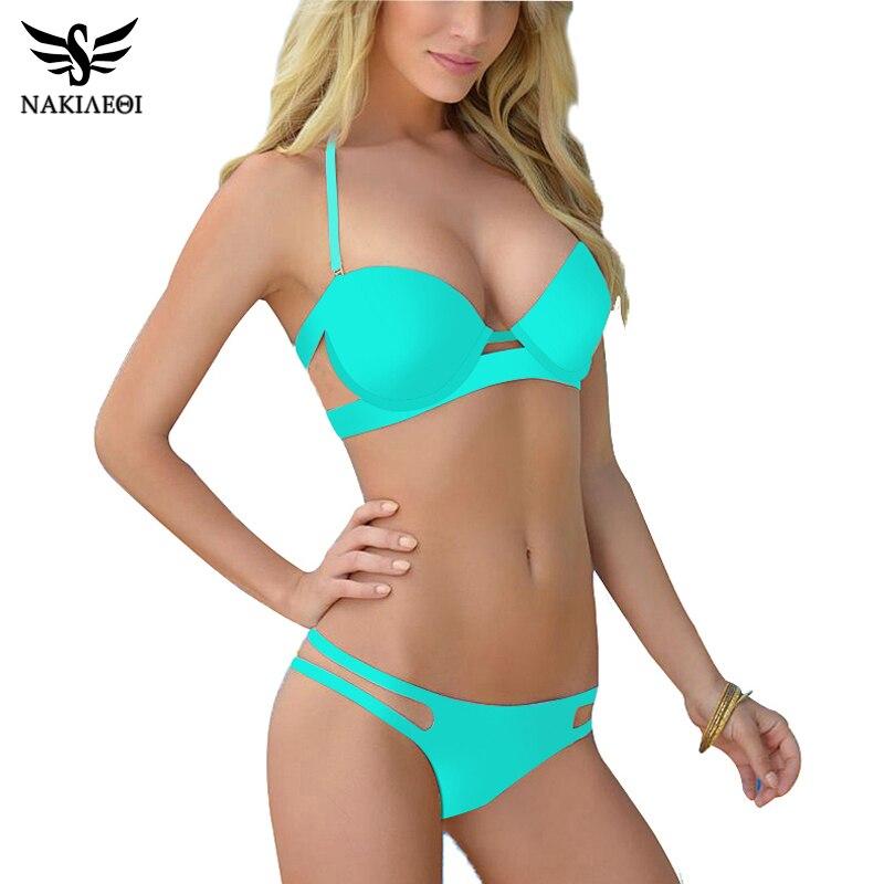 NAKIAEOI 2018 New Strappy Push Up Bikini Brazilian Swimsuit Women Swimwear Sexy Swim Suit Print Halter Bathing Suits Bikini Set