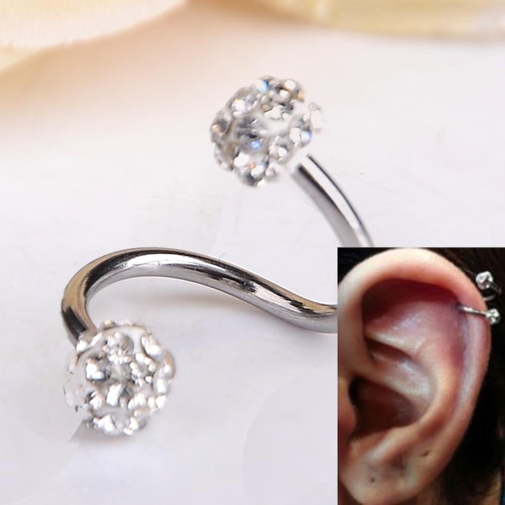 Fashion Stainless Steel Ear Piercing Rhinestone Twist Spiral Tragus Helix Cartilage Stud Earrings