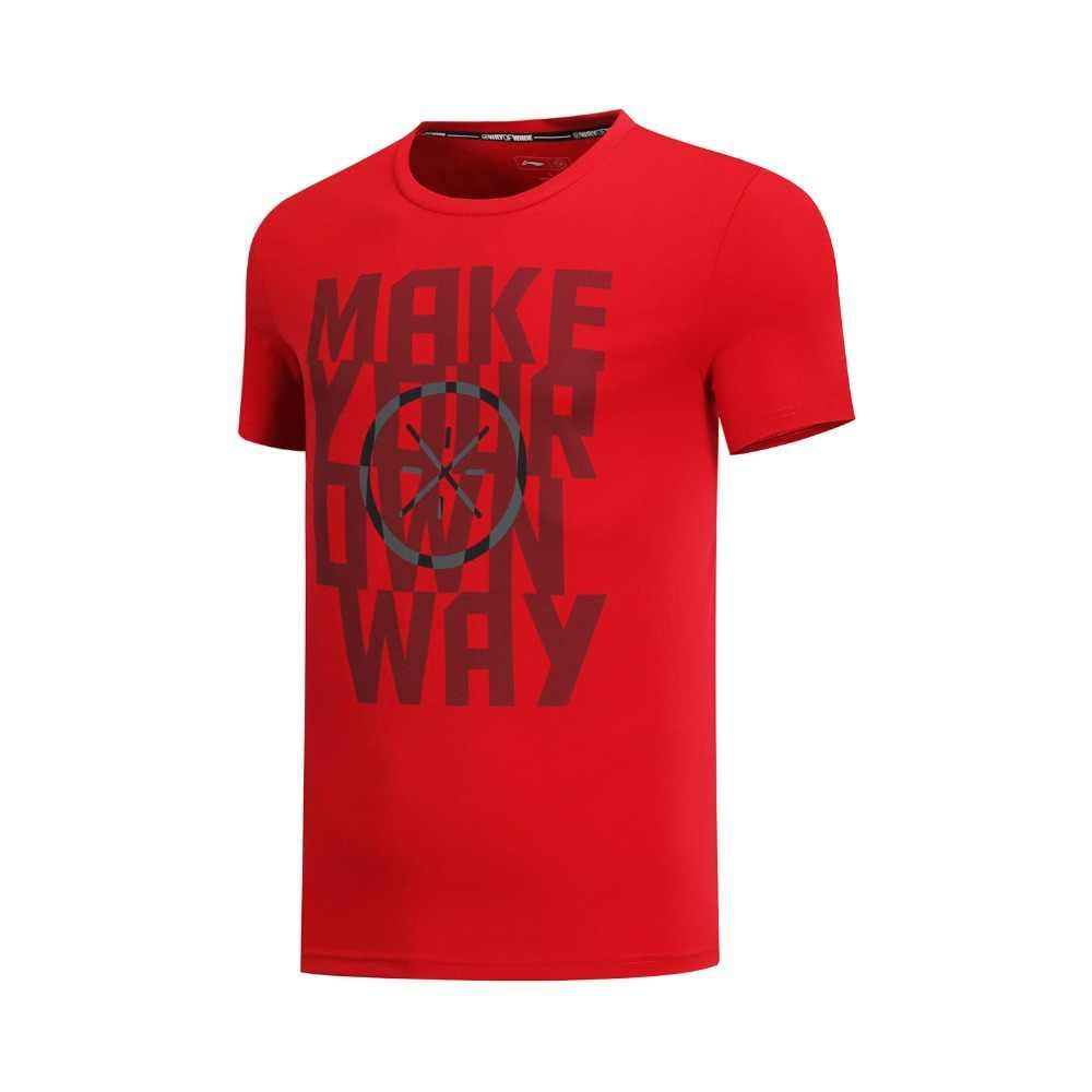 (Break Code) li-Ning Mannen Wade Serie Jersey Ademend 73% Katoen 27% Polyester Voering Li Ning Sport T-shirts Tee AHSN493 MTS2834