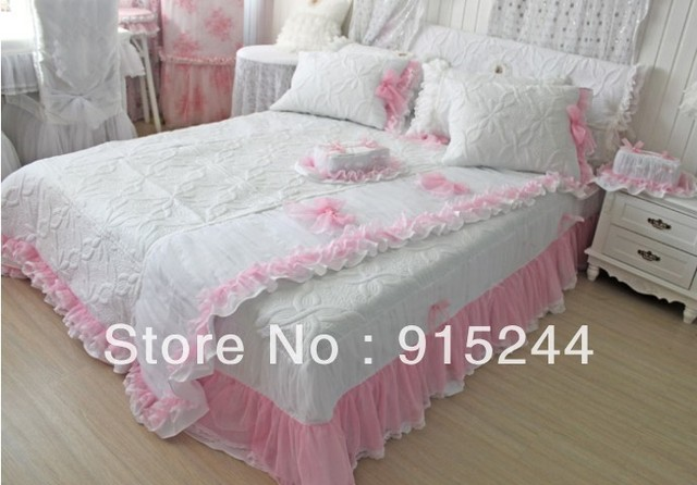 free shipping white ruffle bedding set queen size quilting pink romantic bedspread 1pcs lace bed linen