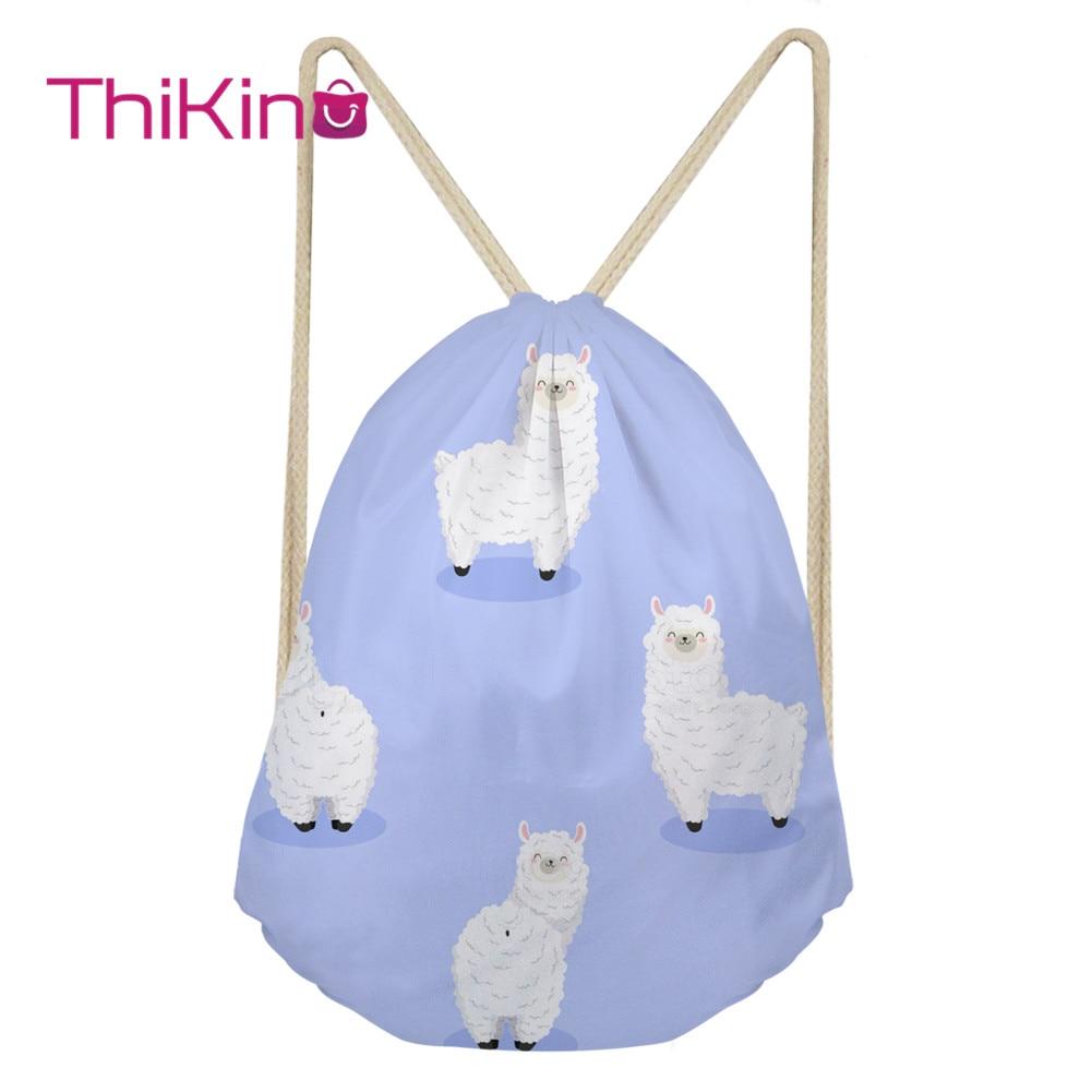 Thikin Candy Alpaca Casual Sack Drawstring Bag for Women Travel Backpack Toddler Softback Lady Beach Mochila