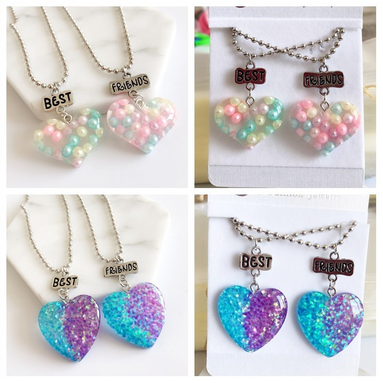 1set(2PCS) Imitation Heart Best Friends Necklace BFF Friendship Kids Necklace Drop Chain Necklace Children Jewelry Gift