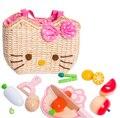 Los niños de cocina de juguete conjunto de madera de corte de fruta bolsa de dibujos animados japonés miniatura alimentos play set juguetes para niños juguetes