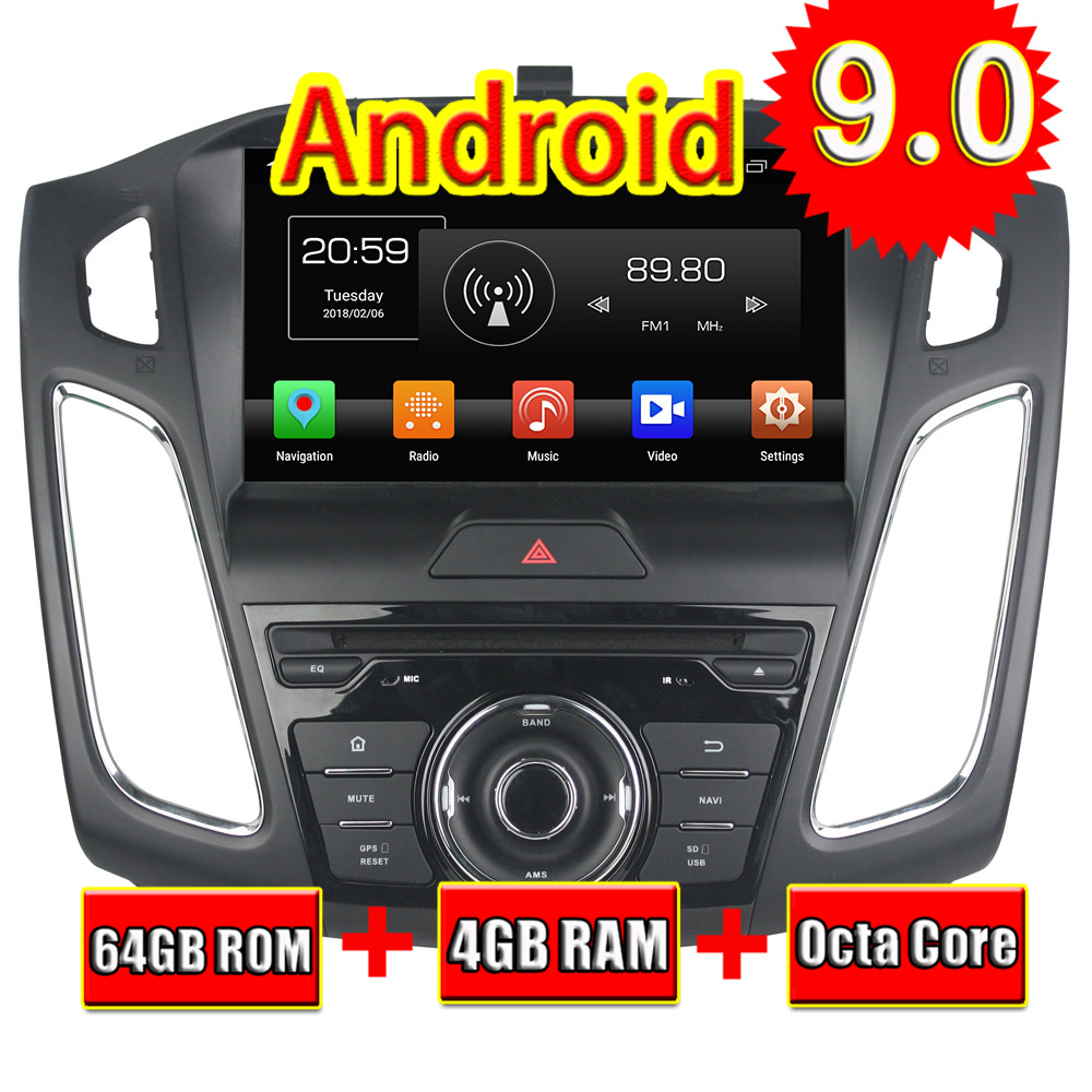 Topnavi 9'' Android 9.0 Car DVD Radio CD Player For <font><b>Ford</b></font> <font><b>Focus</b></font> 2015 2016 <font><b>2017</b></font> 2018 Stereo Double DIN GPS <font><b>Navigation</b></font> Media Center image