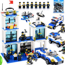 818pcs Police Station Blocks Car Figures Building Blocks Compatible LegoINGly City Enlighten Assembly Bricks Toys For Children(China)