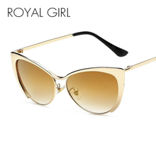 ROYAL GIRL High Quality Metal Super Cute Cat Eye Sunglasses Women Brand Designer Vintage Retro Glasses Fashion Girls Sun shades