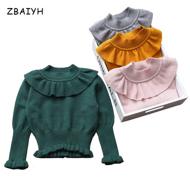 41ecde7d5a0e Baby Girls Clothes Winter Warm Basic Hedging Sweater Children Lotus ...