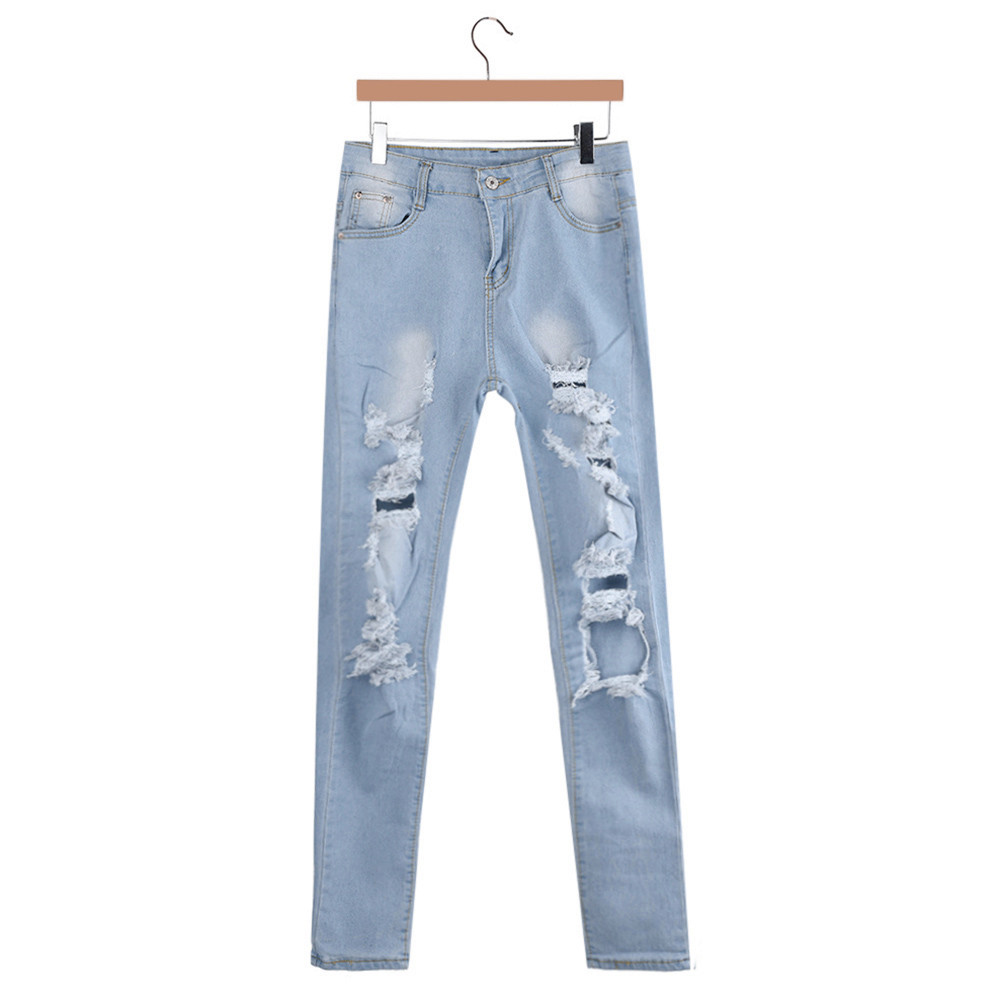 Pants Push Up 2018 Jeans For Women Slim Washed Ripped Hole Gradient Long Denim Sexy Flares Jeans Trousers Denim Long Hole 7.10