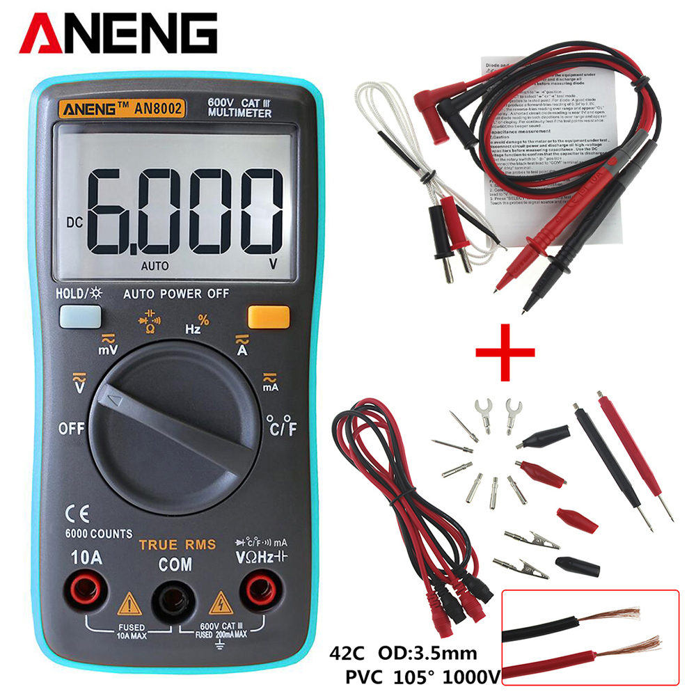 ANENG AN8002 Backlight Multímetro Digital 6000 counts AC/DC Amperímetro Voltímetro Ohm Medidor Portátil