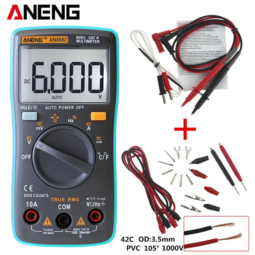 ANENG AN8002 multímetro Digital 6000 cuenta retroiluminación AC/DC amperímetro voltímetro Ohm Meter portátil