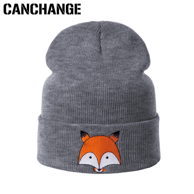 62887c5c36f CANCHANGE Lovely Knitted Winter Hat Women Men Casual Unisex Embroidery  Skullies Beanies Fashion Cartoon Fox Pattern Hat For Girl