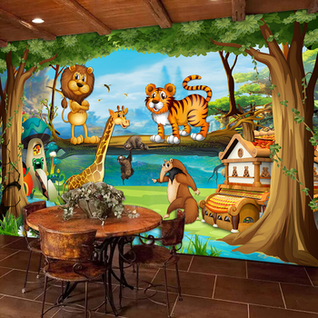Beautiful 3D Cartoon Forest Animal World Wallpaper For Children Room-Free Shipping 3D Wall Stickers For Kids Rooms