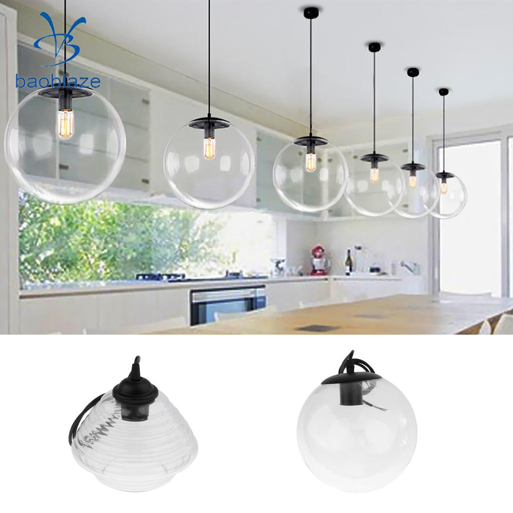 E27 Modern Vintage Ceiling Light Crystal Glass Pendant Chandelier Fixture Lamp Shade