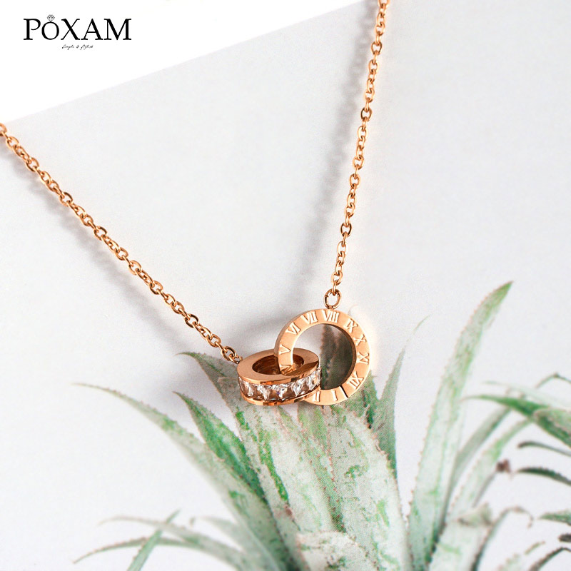 POXAM Luxury Elegant Crystal Choker Fashion Roman Digital Stainless Steel Gold Silver Color Pendant Necklaces for Women Jewelry 4