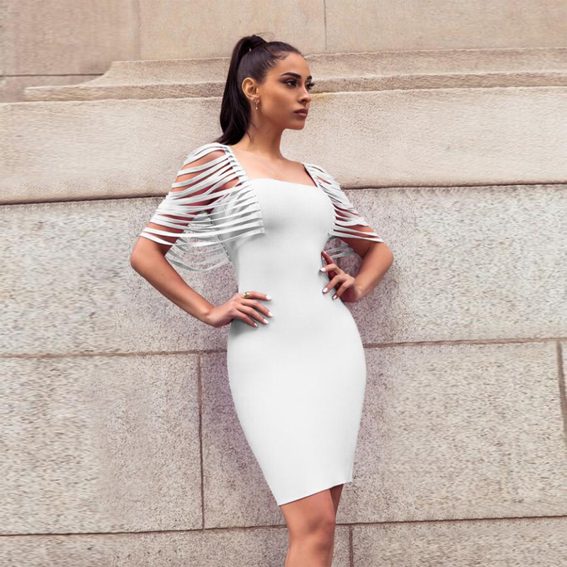 <font><b>2018</b></font> <font><b>New</b></font> <font><b>Fashion</b></font> <font><b>White</b></font> Orange Tassel Sleeve Bandage <font><b>Dress</b></font> <font><b>Sexy</b></font> Strapless <font><b>Backless</b></font> Bodycon Elegant Evening Party <font><b>Dresses</b></font> Vestidos image
