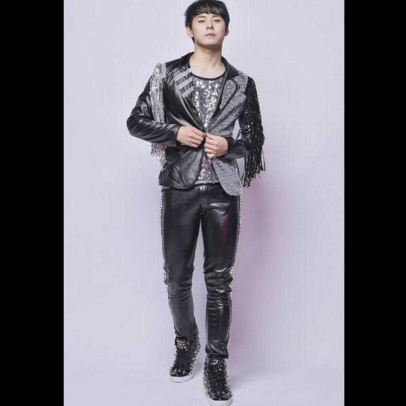 Moderator DJ Tassel Sequin Suit Cool Bar Nightclub Male Singer Show Costume Set