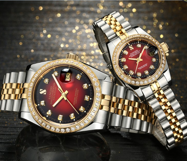 SANGDO Black- red dial Automatic Self-Wind movement High quality Luxury Couples watch Mechanical watches 016S