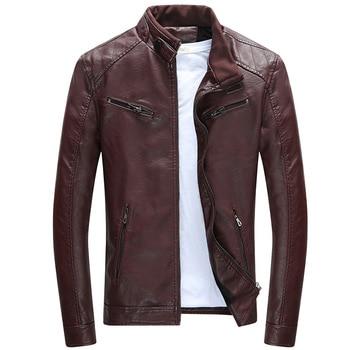 2018 New Fashion Leather Jacket Men Stand Collar Slim Fit Biker Jacket Leather Men