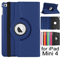 For iPad Mini 4 Case 360 Degree Rotating Stand PU Leather Smart Cover Auto Sleep Wake up Feature for Apple iPad mini4